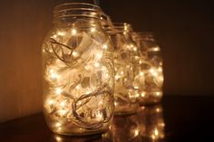 Christmas lights in a jar. Have this done in a square vase in my living room, looks amazing.