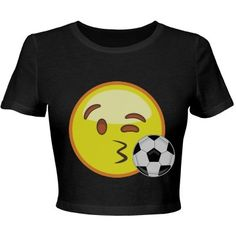 Emoji Soccer Crop Top | Emojis and crop tops! Better yet, this emoji is blowing a soccer ball kiss! Super cute cropped tee for any girl who plays soccer or has a soccer boyfriend. Get this flirty and fun shirt and show your love for the game. #soccer
