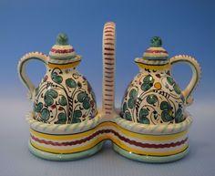 Deruta Italy Ceramic Oil & Vinegar Cruet Set with Holder, Raffaellesco Pottery #Deruta