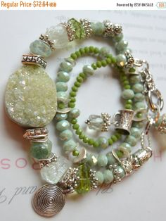 ON SALE druzy bracelet fluorite bracelet peridot by soulfuledges