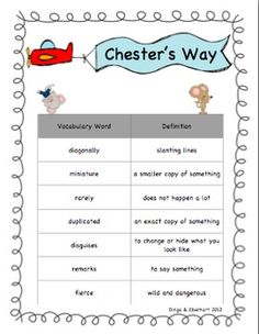 $2.50 -- Chester's Way Book Study -- Kevin Henkes #chester #henkes #vocabulary Small Group Activities, Reading Activities, Teaching Reading, Guided Reading, School Tips, School Resources, School Stuff, School Ideas, Genre Study