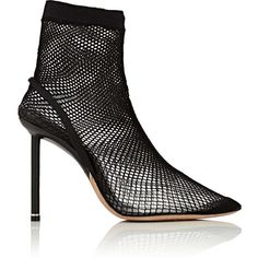 Alexander Wang Women's Caden Fishnet Ankle Boots (€815) ❤ liked on Polyvore featuring shoes, boots, ankle booties, ankle boot, black, black high heel boots, pointy-toe ankle boots, pointed toe high heel booties, pointed toe ankle boots and short black boots