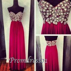 Luxury wine red chiffon long prom/evening dress #promdress #homecoming