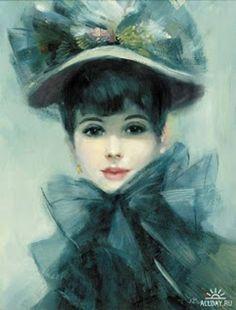 dama antigua.1307703148 Dama antigua con sombrero con tules y flores de seda y un gran moño para sujetar.