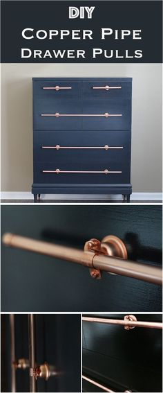 DIY Copper Pipe Drawer Pulls / Add modern trendy touch with copper accents in your house. Copper pipe pulls work especially well with dark, black or navy blue cabinets and dressers.