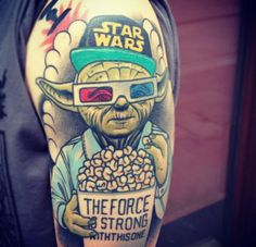 Star Wars, Yoda, The Force is strong with this one arm/shoulder tattoo ink