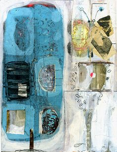 blue tree | nice layers of collage and paint