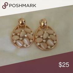 Micheal kors earrings MK earrings rose gold with light pink stones and crystals Michael Kors Jewelry Earrings