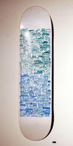 Don Kilpatrick · Houses · Deck · Wood · Skate · Blue · Green · Gradient · White · City