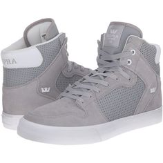 Supra Vaider (Light Grey Suede/Perforated Nubuck) Skate Shoes ($80) ❤ liked on Polyvore featuring shoes, grey, hi tops, skate shoes, light grey shoes, suede skate shoes and ankle support shoes