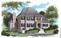 Eplans French Country House Plan - Intricate Brick Exterior - 4081 Square Feet and 4 Bedrooms(s) from Eplans - House Plan Code HWEPL04042