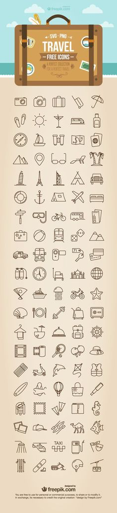 Free Travel Icons - SVG + PNG formats: