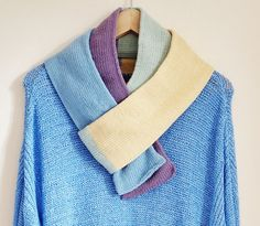 Pastel blue knitted scarf Lemon knitted scarf Pastel by OnePurlRow