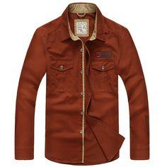 Plus Size S-XXXXL 5XL Brand 100% Cotton Long Sleeve Denim Shirts Men Army Green Militray Casual Camiseta Masculina A3056