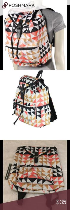 "NWT Roxy Driftwood Backpack Roxy Driftwood backpack in Cozy Geo.  100% polyester featuring a flap top with buckle and drawstring closure.  A large main compartment, padded laptop sleeve, and interior organizer pockets complete the pack.  Measures 14""x12""x6"". Roxy Bags Backpacks"