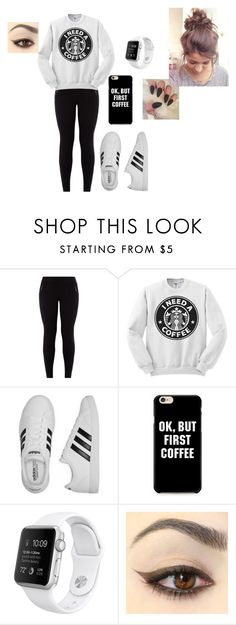 """""""I NEED A COFFEE"""" by tkaigibson-1 on Polyvore featuring New Look and adidas"""