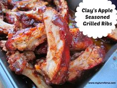 Clay's Apple Seasoned Grilled Ribs - My Turn for us Ham Hock Recipes, Rib Recipes, Grilling Recipes, Yummy Recipes, Grilled Veggie Kabobs, Homemade Stromboli, Football Party Foods, Seven Layer Dip, Apple Season