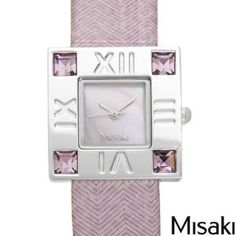Misaki Genuine Leather with Crystals Ladies Pink Watch.