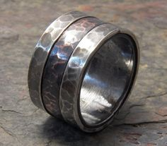 Rustic Sterling Silver and Copper Wide Wedding by VictorianMoon