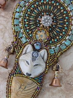 White Wolf Necklace with Dorje bells by HeidiKummliDesigns on Etsy