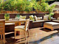 Innovative Design Ideas for Stunning Decks : Outdoors : HGTV - Gorgeous color palette; simple backyard furniture; amazing deck!