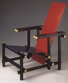 rietveld_chaise_rouge_bleue Design Bauhaus, Art Deco, Chair, Furniture, Illustration, Home Decor, De Stijl, Red Dining Chairs, Red And Blue