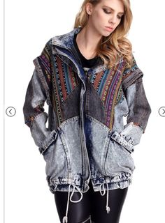 09b605b5b43 Blue Oversized Aztec Denim Acid Wash Coat