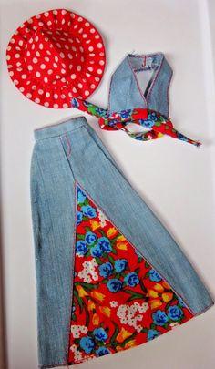 VINTAGE BARBIE CLOTHES BEST BUY 7210 POLKA DOT HAT HALTER TOP DENIM SKIRT LOT   eBay