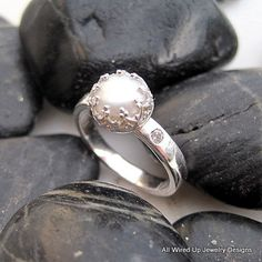Diamond Accent Pearl Ring - The Posh Pearl - Sterling Pearl Engagement Ring. $150.00, via Etsy.