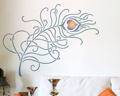 Resuable Wall Stencils Grande Peacock Feather Stencil Set for DIY Wall Decor. $46.00, via Etsy.