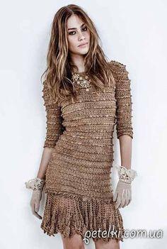 Хорошенькое платье крючком. Схемы вязания