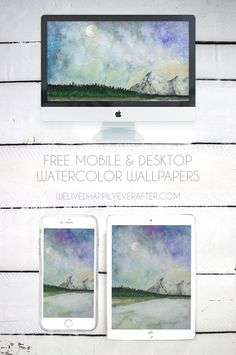Free Mobile & Desktop Watercolor Wallpapers | We Lived Happily Ever After