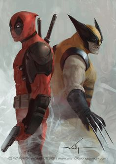 Wolverine Deadpool Art Painting by Warrick Wong Hugh Jackmans Wolverine Cameo in Deadpool Just A Matter of Scheduling Marvel Wolverine, Marvel Comics Art, Marvel Heroes, Captain Marvel, Superhero Characters, Comic Book Characters, Comic Books Art, Comic Art, Dead Pool