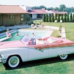 1950's cars were brightly colored, and in all different shapes and color schemes. People were considered lucky to have cars back then.