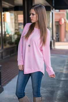 Show My Love Top, Pink    This top truly lets us show our love for comfy clothes! But that doesn't mean we have to sacrifice style! You can have both with this suuuuuper soft precious pink top!