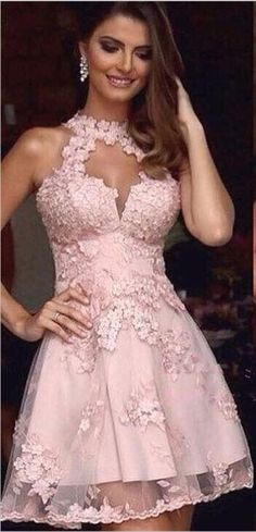 2017 Homecoming Dresses,A-line Homecoming Dresses,Pink Homecoming Dresses,Appliques