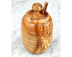 Beehive Honey Jar with Honey Dipper Handcrafted by Beldiworkshop