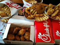 chik-fil-a chicken nuggets and waffle fries