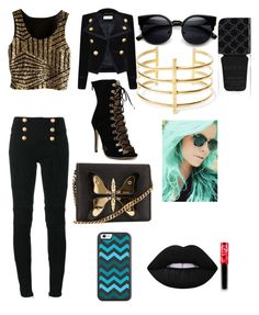 """""""Shadow"""" by vitalina-paciu ❤ liked on Polyvore featuring Yves Saint Laurent, Balmain, Gucci, BauXo and Lime Crime"""