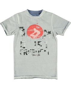 Rags Industry T-shirt print grijs - Rags Industry T-shirt inside out print €29,95