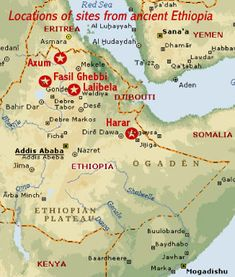Map showing the locations of the four UNESCO cultural world heritage sites in ancient Ethiopia