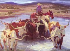 Art Inspiration (longhorn cattle): Old Texas by W. Herbert Dunton ~*~ The cattle drives bring my hero, Noah, to Dodge & to Sadie's side. Westerns, Art Occidental, Longhorn Cattle, Southwestern Art, Cowboys And Indians, Le Far West, Cowboy And Cowgirl, Old West, Horse Art