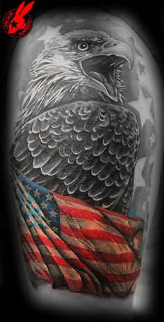 Love the b & w with one coloured element, as this idea could be portrayed in so many other different ideas for other tattoos! I'd love to add one to my ink collection eventually! - Patriotic Flag Eagle Tattoo by Jackie Rabbit Patriotische Tattoos, Army Tattoos, Military Tattoos, Neue Tattoos, Badass Tattoos, Star Tattoos, Celtic Tattoos, Skull Tattoos, Body Art Tattoos