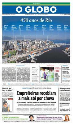 Bom dia, amigos! O Jornal O Globo de hoje comemora os 450 anos da Cidade Maravilhosa! http://glo.bo/1ndZDzI #Rio450