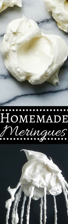 This simple meringue recipe gives you light as a feather vanilla meringue cookies. These easy meringues literally melt in your mouth! Kinds Of Desserts, Light Desserts, Easy Desserts, Delicious Desserts, French Desserts, Baking Recipes, Cookie Recipes, Dessert Recipes, Easy Meringue Recipe