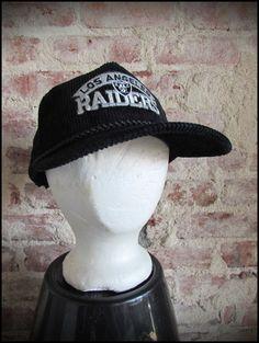 5584387ab426b Vintage Deadstock 80 s LA Los Angeles Raiders NFL Zipback Corduroy Hat Cap
