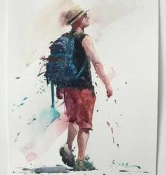 Eudes Correia: 2 тыс изображений найдено в Яндекс.Картинках Watercolor Artwork, Gouache Painting, Watercolor Portraits, Watercolor Animals, Painting People, Figure Painting, Portrait Sketches, Guy Drawing, Urban Sketching