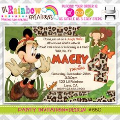 660: DIY  Minnie Mouse Jungle Safari Party by LilRbwKreations