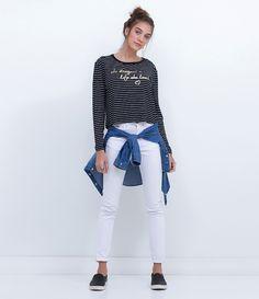 6e31ced37850 Blusa feminina Manga longa Listrada Com estampa Marca: Blue Steel Tecido:  Viscose Modelo veste