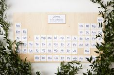 """""""our favorite elements"""" escort card display for a science-themed wedding. so cool!"""